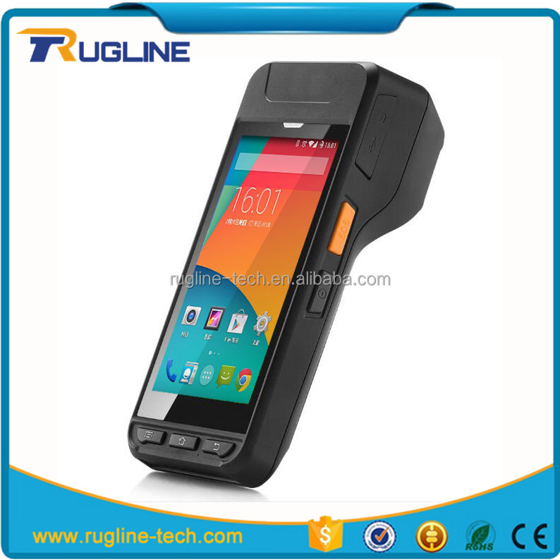 Android 4G mobile pos barcode Reader terminal handheld pda with built-in printer