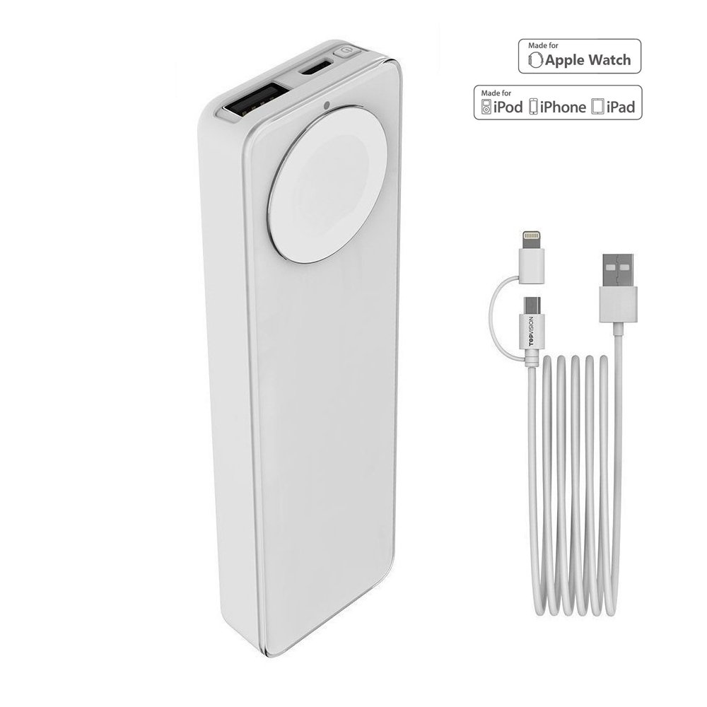 MFi Certified Apple Watch and iPhone Portable Charger, TOPVISION 4000mAh iWatch Magnetic Wireless Power Bank Battery, One 2 in 1 Lightning Cable (1M) Included, Perfect Gifts (White)
