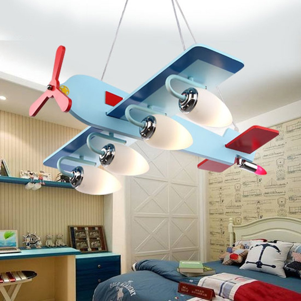 Chandelier Atmosphere eye protection aircraft lights children 's room creative cartoon cute LED bedroom boy room chandeliers A+