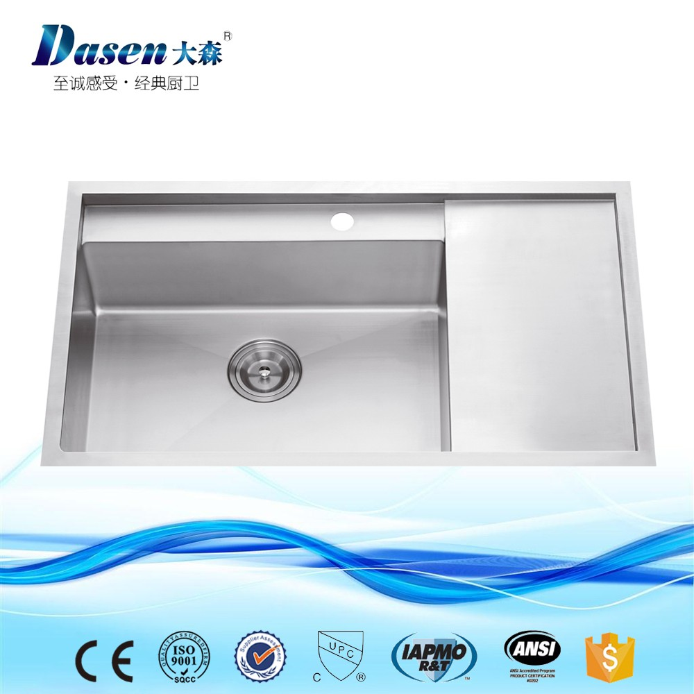 Elegance Handmade Western Bathroom Milano Stainless Steel Fiber Square Bowl Kitchen Sinks