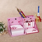 custom made stationery box sticky note pads set self adhesive with pen holder and plastic writing memo