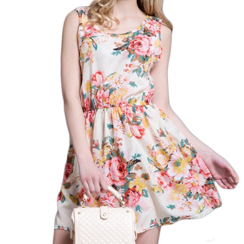 5bcd14d40ce5d Get Quotations · Women Summer Dress 2015 Summer Style Sleeveless Chiffon  Dress White Mini Print Dress For Women Plus