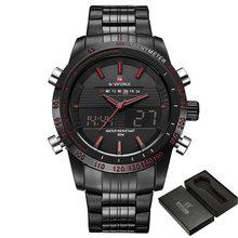 NAVIFORCE мужские часы, полностью стальные Мужские кварцевые часы, аналоговый светодиодный цифровой часы, спортивные военные наручные часы, муж...(China)