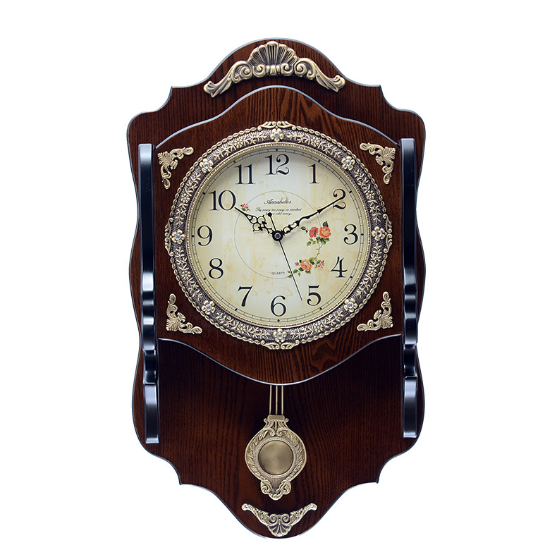annabel continental wooden wall clock silent clock creative living room wall clock antique. Black Bedroom Furniture Sets. Home Design Ideas