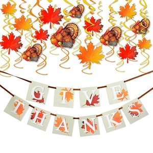 "Thanksgiving Decorations with ""GIVE THANKS"" Banner and Turkey Maple Leaves Party Supplies"