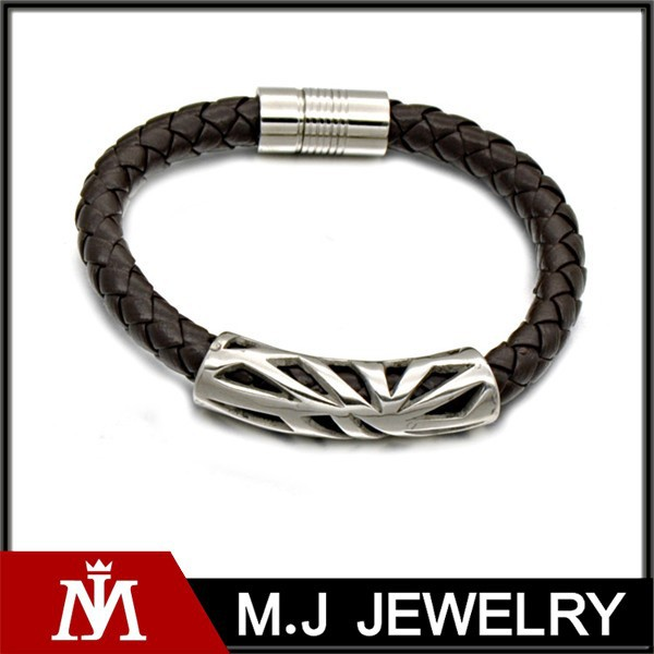 Weave Leather Snake Wrap Hollow Tube Bracelet In Titanium Steel