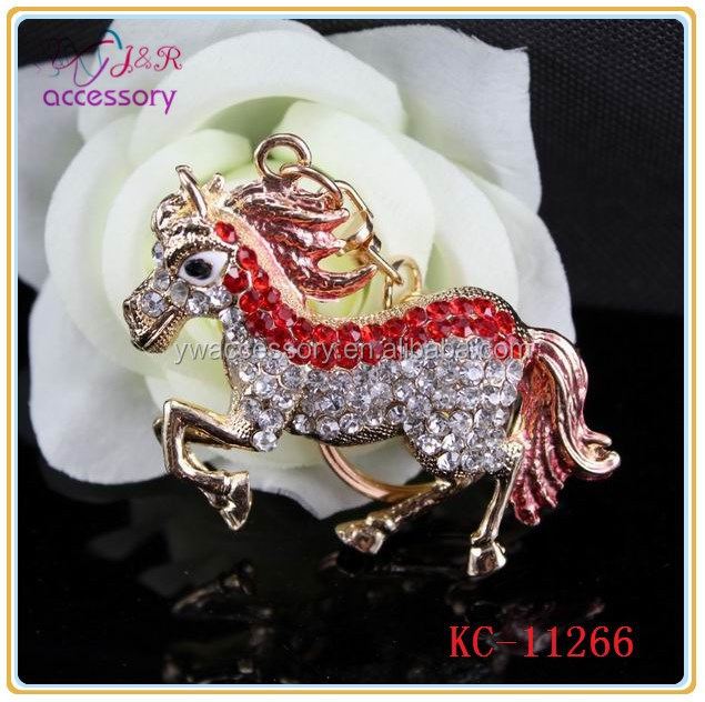 Fashion pony horse shaped jewelry rhinestone keychain