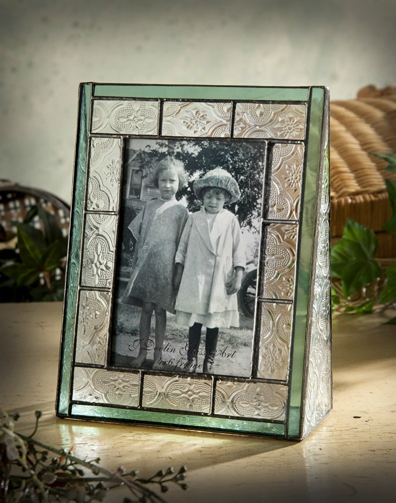 J Devlin Pic 122-46V Green Picture Frame 4x6 Vertical Photo Vintage Stained Glass Tabletop