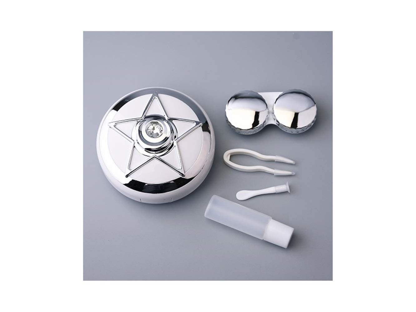 OVIIVO Portable Pentagram Pattern Contact Lens Container Contact Lens Case for Girls(Gold) (Color : Silver)