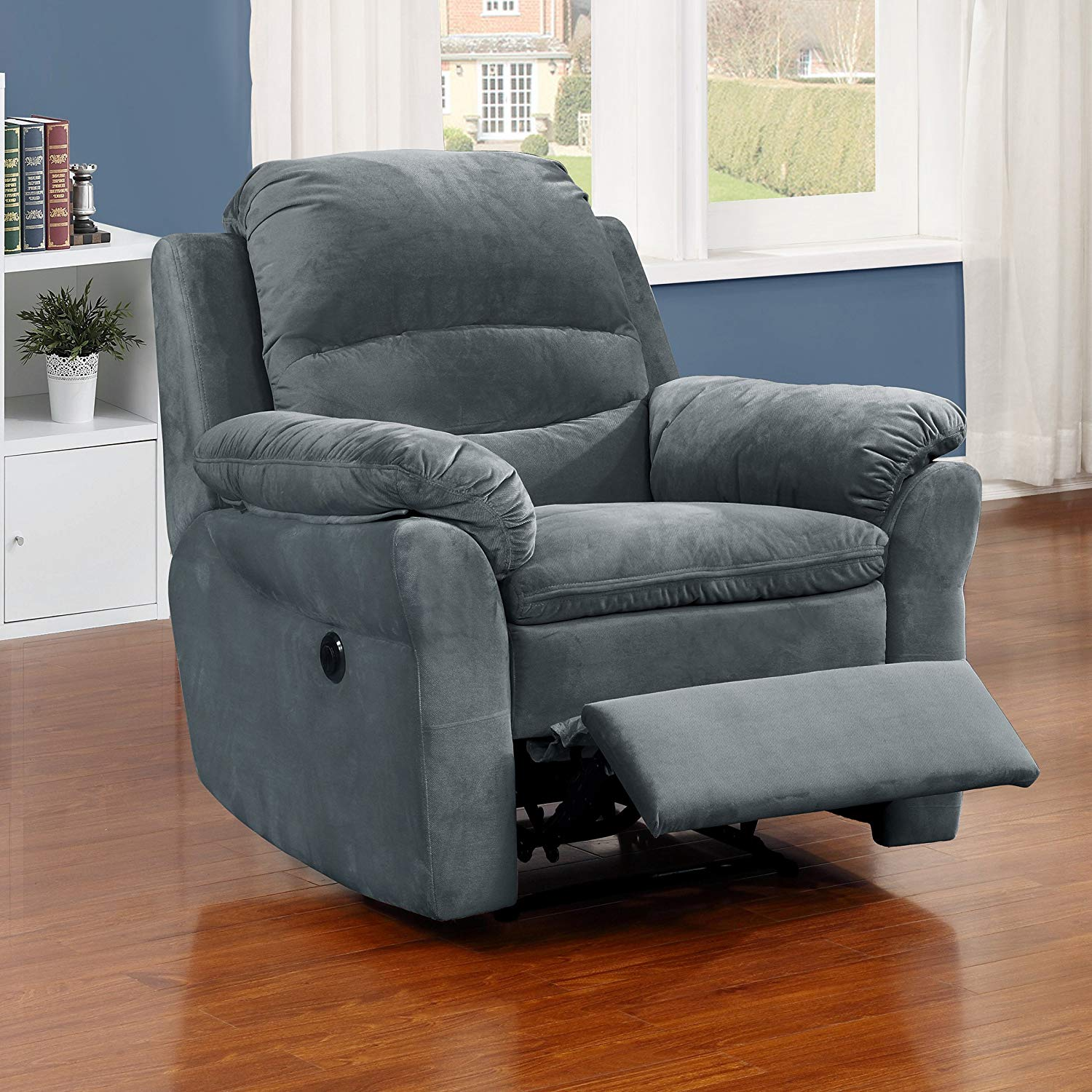 Christies Home Living Contemporary Style Fabric Upholstered Living Room Electric Recliner Power Chair, Dark Grey