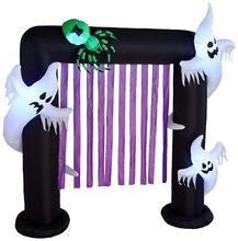 Halloween Aufblasbare Ghosts und Spinne Torbogen Dekoration mit Lila Streamer