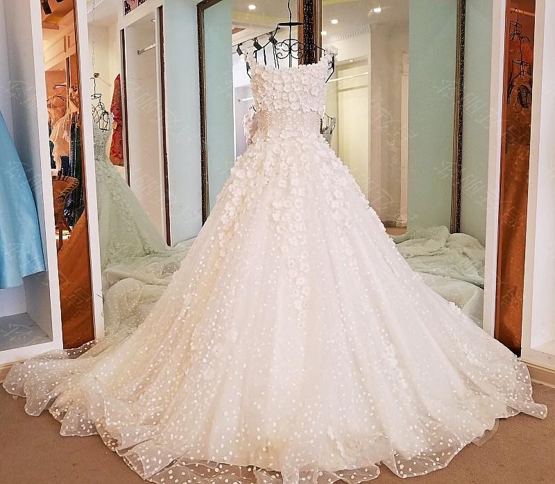 Ls47119 Handmade Flowers Luxury Prices Pakistani Indian Men Simple Spaghetti Strap Wedding Dresses Bridal Gown
