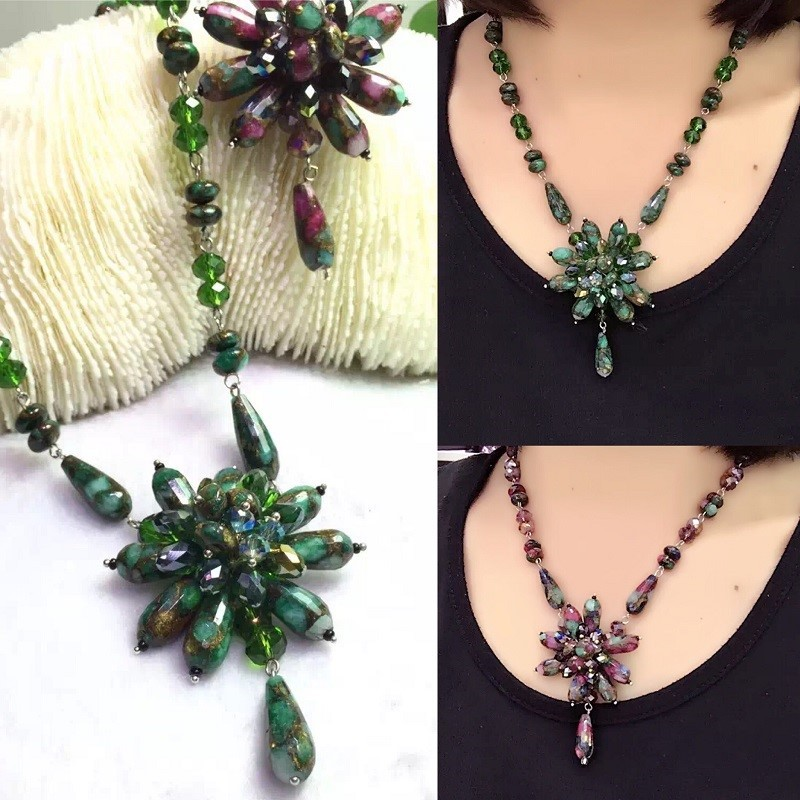 Fashion Boho Natural Stone Flower Costume Statement Necklace