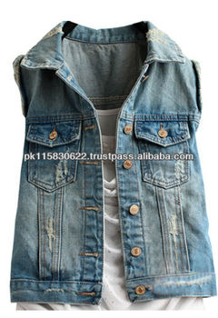 Without Sleeves Denim Jackets - Buy Custom Denim Jacket,No Sleeve ...