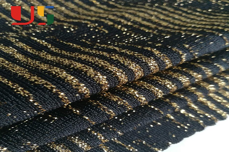 China supplier nylon spandex knitted weft gold lurex metallic fabric for women dress