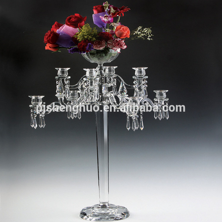 9 arms crystal candelabra with flower bowl wedding centerpieces wholesale