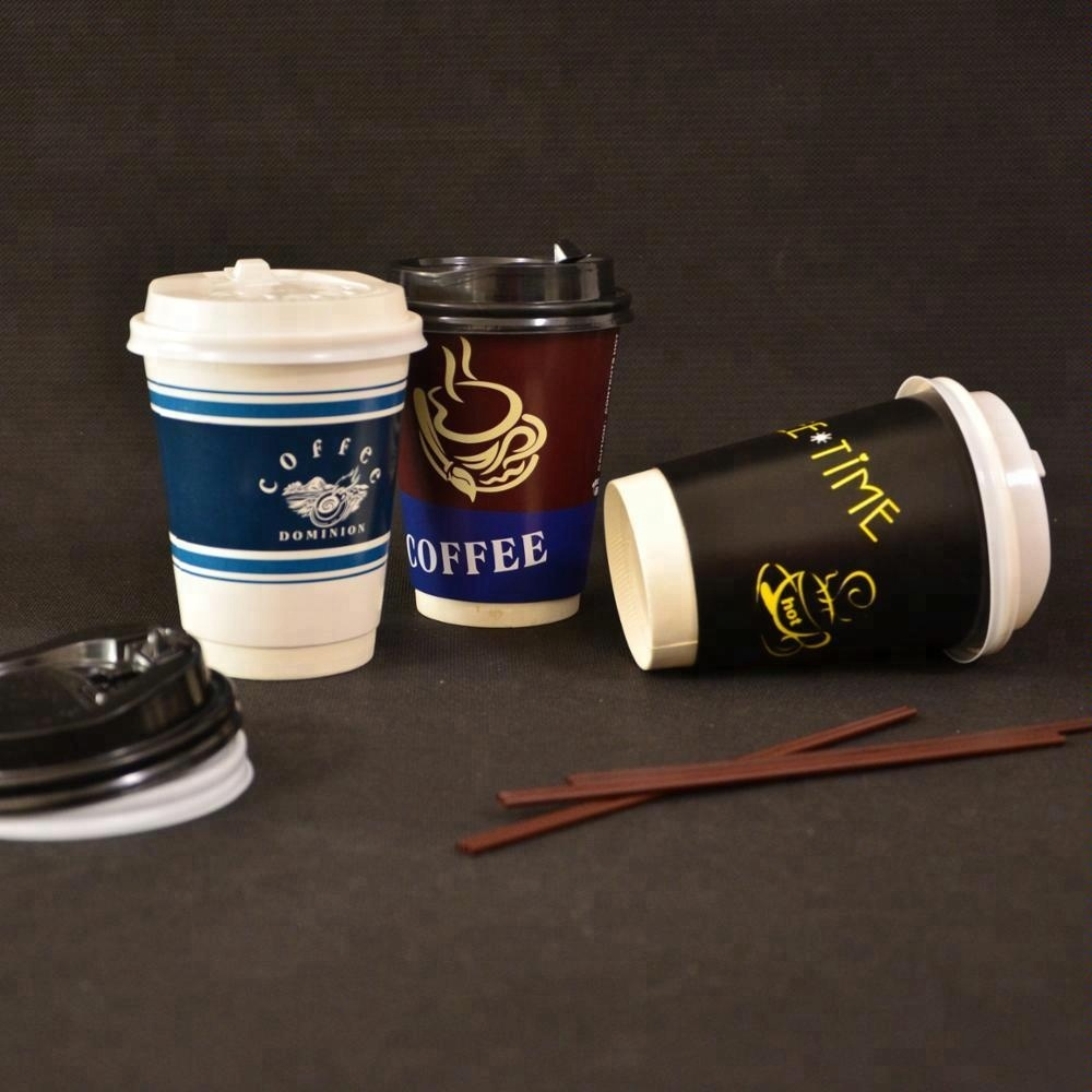 Custom Unique Design Creative Double Wall Paper Hot Coffee Drinking Cups with lid stirer