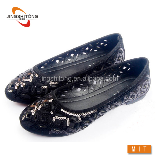 Hollow out sequin flat fashion lady shoe