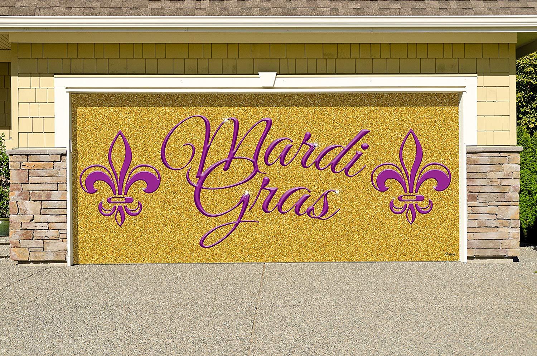 Victory Corps Outdoor Mardi Gras Decorations Garage Door Banner Cover Mural Décoration 7'x16' - Mardi Gras Gold Glitter- The Original Mardi Gras Supplies Holiday Garage Door Banner Decor