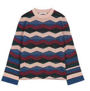 Vintage wavy striped colored bright silk sweater for women knitwear