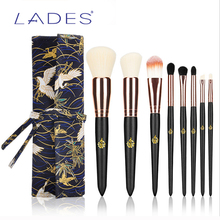 LADES 8 Pieces New Style Make Up Brush Set Nature Wood Makeup Brushes