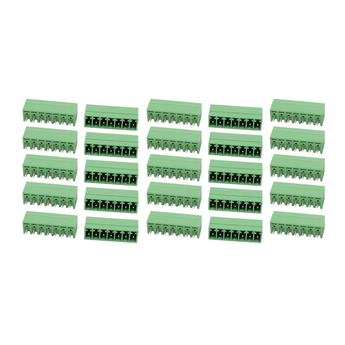 uxcell 25Pcs AC 300V 8A 3.5mm Pitch 7P Terminal Block Wire Connection for PCB Mounting