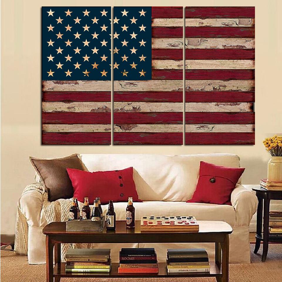 3Panel American USA United States Of America Flag Canvas
