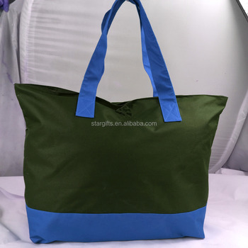 Lightweight Packable Custom Nylon Beach Tote Bags With Front Zip Pocket bb72a9412