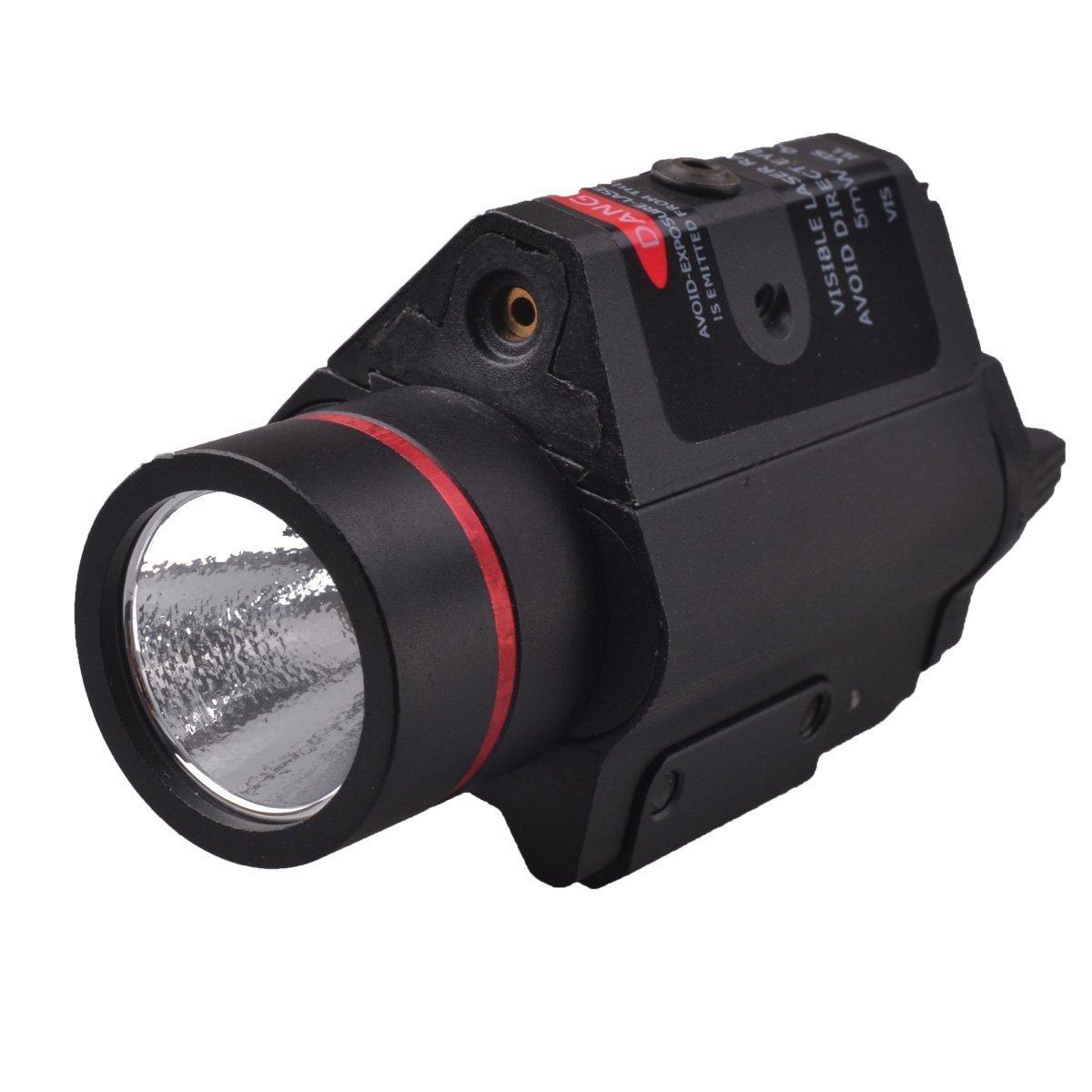 Freehawk® Rifle Scope/Gun Laser/Airsoft Laser/Gun Sights/Gun Lights, RichFire SF-P15 5mW Red Laser Gun Sight w/ Mount+LED Tactical Pistol Flashlight-Black(2 x CR123A)