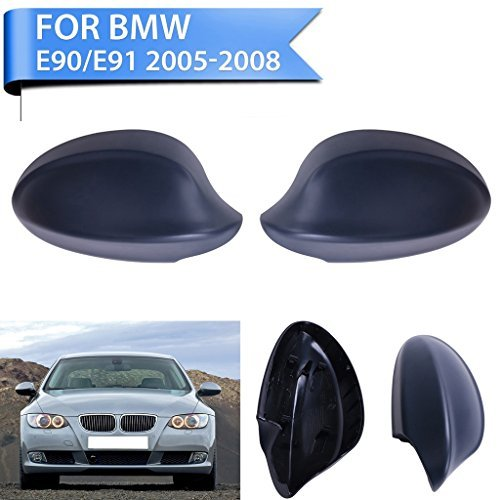 Jade Onlines 2 Pcs Black Side Door Mirror Cover Caps Trim for 2005-2008 BMW 3-Series E90 E91 325i 328i 330i Sedan(Left and Right)