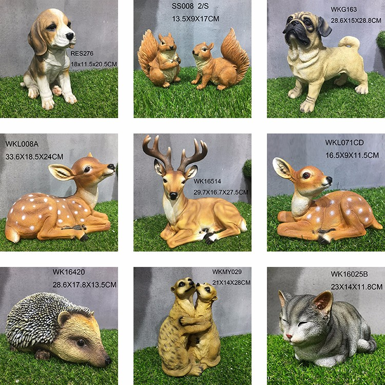 Resin life size dog statues garden decoration
