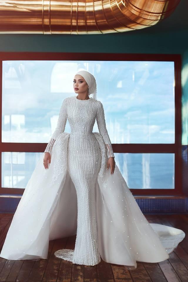 Lengan Panjang Gaun Pengantin Muslim Pernikahan Gaun 2018 Sederhana