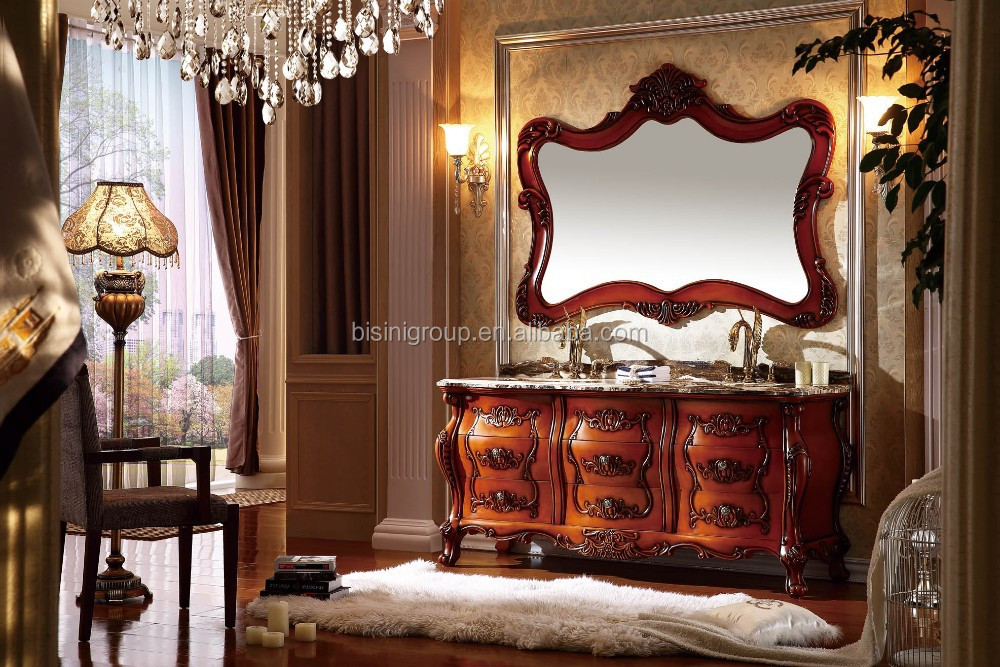 Luxury Wooden Bathroom Vanity in American Style,Antique Double Sink Bathroom Furniture for Master Room(BF08-4433)