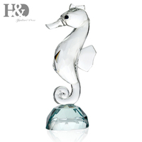 H&D Pretty Animated Crystal Seahorse Figurine Holiday Gift Crystal Cute Paperweight