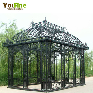 High quality luxury garden wrought iron gazebo with glass