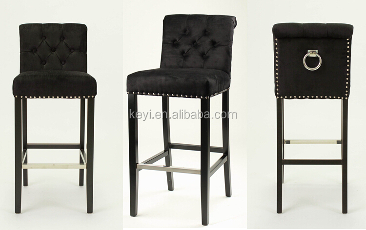 Modern Button designed Wooden Fabric Leisure Barstool With Ring Back KY