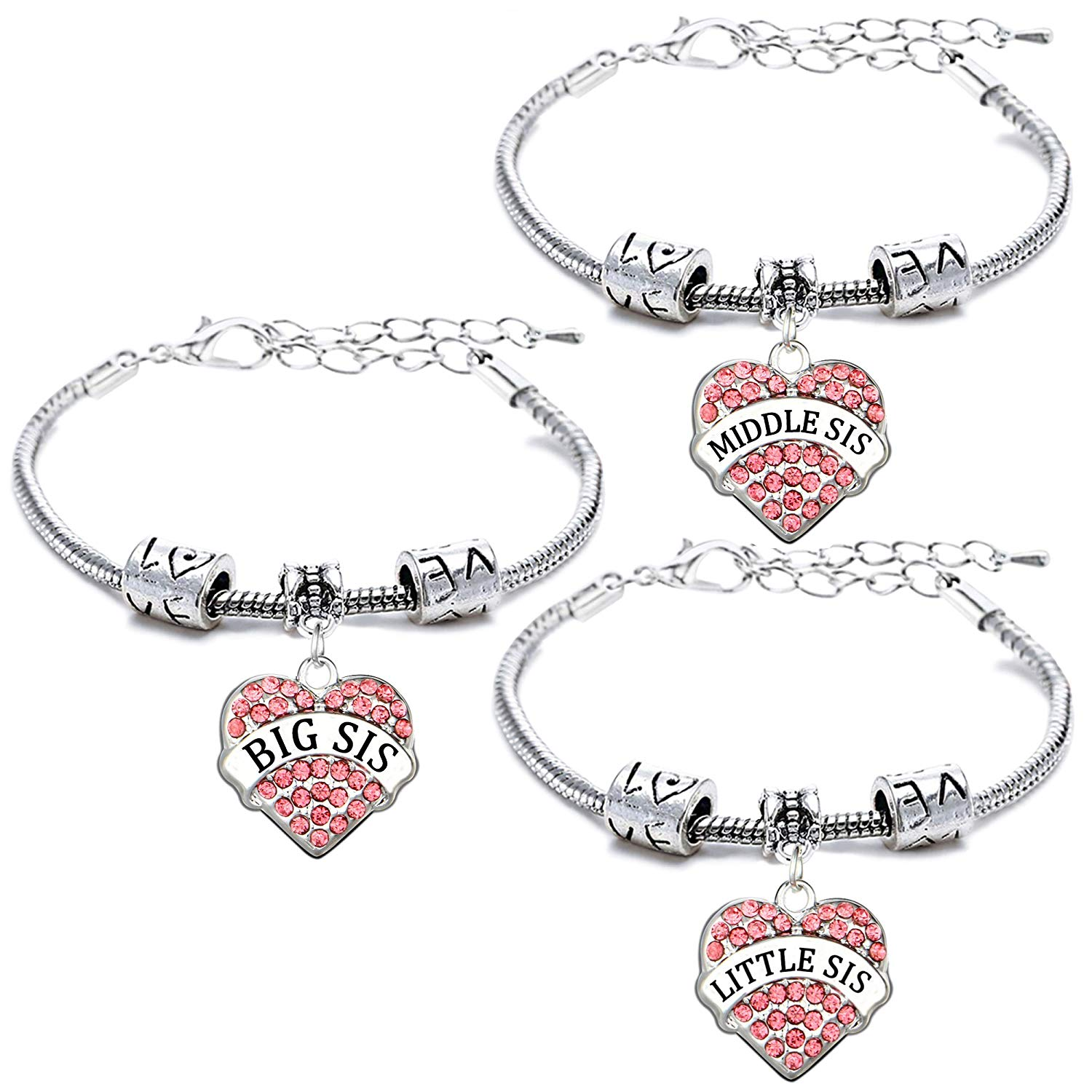 Inspired Silver Big Sis Celtic Knot Pave Heart Clear Cystal Charm Bracelet