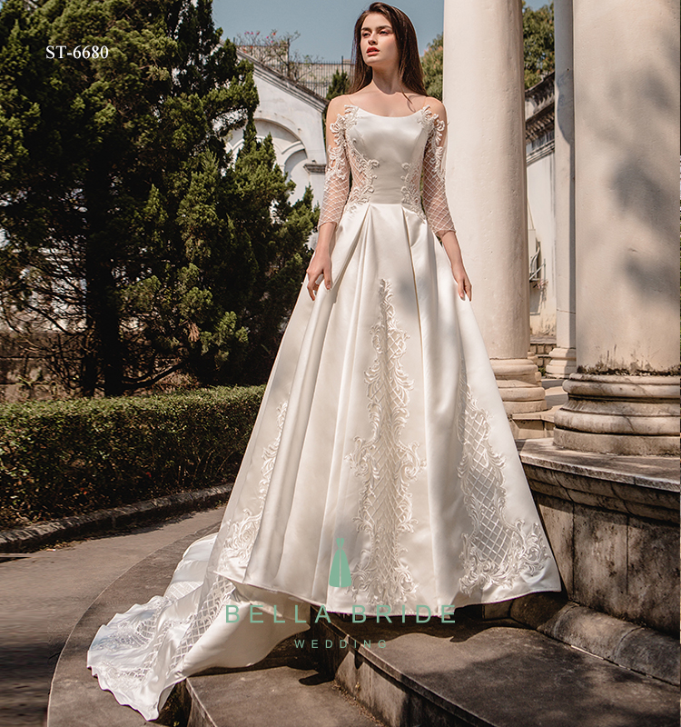 Long Sleeve Wedding Dress Bridal Gown Embroidery Wedding Dress ...
