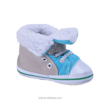 Mix Color Gray Canvas and Blue Faux Suede Upper and Sherpa Lining Baby Boy Shoes