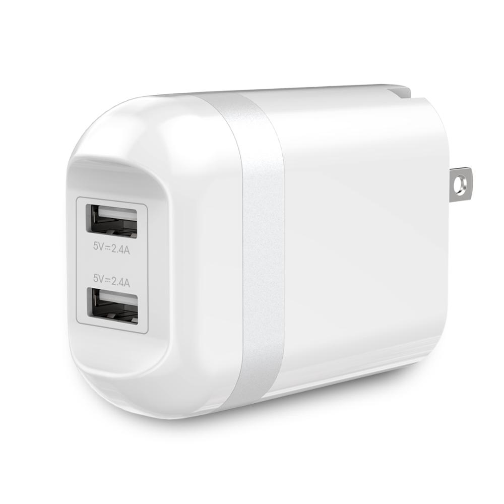 UL certified dual wall charger 5V 2.4A 24W