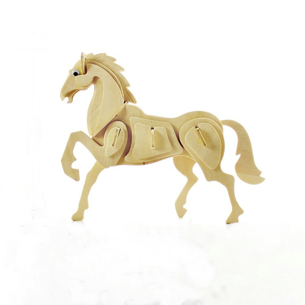 3d Wooden Three-dimensional Jigsaw Puzzle Toy 3D Wood Simulation Model Toy Creative Gifts Ornaments Beautifully Home Decorated Horse