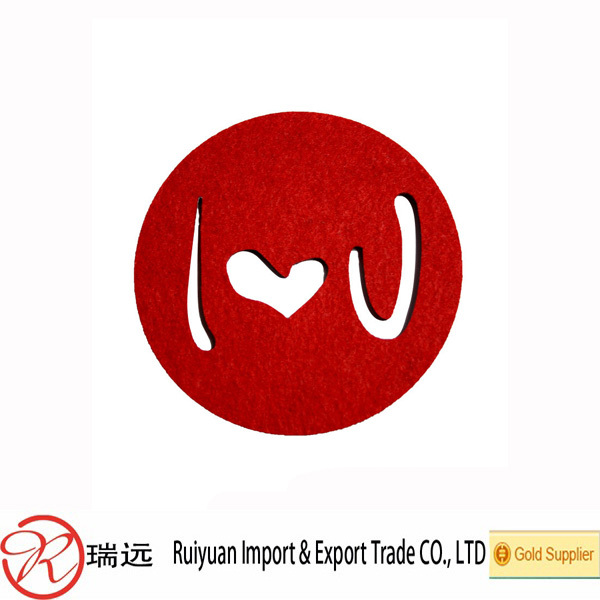 hot selling cheap craft laser cut felt coaster for wedding or valentine's day