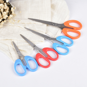 Best selling wholesale stainless steel plastic school scissors in poly bag packaging