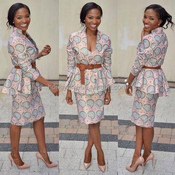 faf6db13df5 CH133 Elegant African Two Pieces Skirt Set Long Sleeve V Neck Ankara Skirt Suit  Women