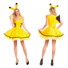 Halloween kostuums vrouwen sexy plus size Pokemon <span class=keywords><strong>pikachu</strong></span> <span class=keywords><strong>kostuum</strong></span> Cosplay Christmas Party fancy Dress