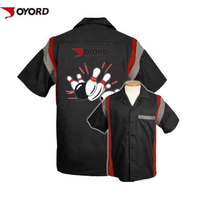 Tùy chỉnh thiết kế thăng hoa in ấn 100% polyester spandex vải khô phù hợp với đội bowling áo sơ mi bán buôn