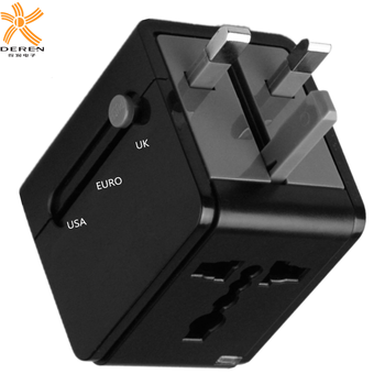 USB charger port and UK/USA/EURO power plug adapter with socket 5 in 1 adapter converter