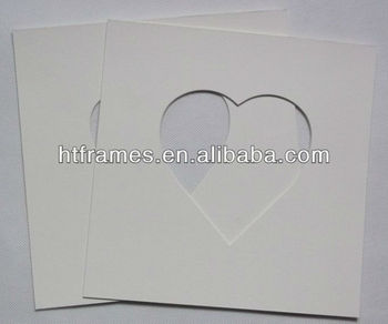 custom do cut cream heart shape frame mat