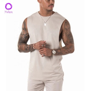armhole tank top 100% Cotton men's running singlet printing men gym singlets
