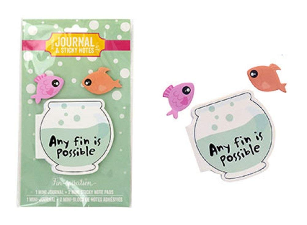 Any Fin is Possible Fishbowl Mini Journal & Fish Sticky Notes Set Inspirational Fin-Spiration (Memo Pad Notepad Organize Lists School Work Home) Kawaii Cute Cool